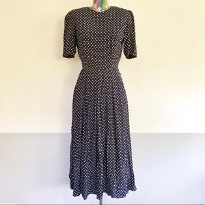 🚲VINTAGE 80s Navy Print Midi Day Dress